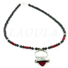 Bijoux Touareg Ethniques Collier Croix d'Ingall en Argent Corail et Onyx - LAOULA