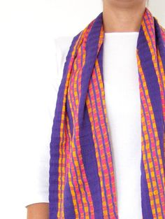 Skinny scarf purple handmade in Chiapas, Mexico