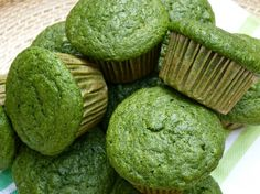 Green muffins! Made with spinach and banana!