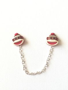 Sock Monkey Sweater Clips Guards, Monkey, Retro, Cardi Clips, Collar Pins, Cardigan, Chained Pins by SweetKawaiiStudio on Etsy
