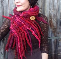 The 'Wild Rose' Felted Woven Scarf of Dreadlocks, Festive Sparkle & Twinkles Vibrant Hippie Pixie Festival Wearable Art Scarf