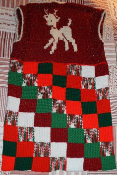 My Rudolph Christmas sweater vest crocheted.