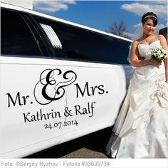 Autoaufkleber Mr. & Mrs. und Namen - 02