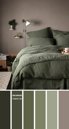 Olive Green Bedrooms, Green Bedroom Colors, Bedroom Color Schemes, Olive Bedroom, Calming Bedroom Colors, Green Bedroom Design, Green Bedroom Walls, Teal Color Schemes, Sage Green Bedroom