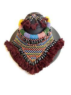 Bead Choker Set with Thread Tassels- Brown