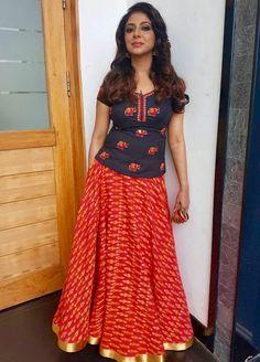"Poornima in elephant printed black blouse with ikat skirt from ""aanachandam' Indian Skirt, Indian Dresses, Indian Outfits, Saree Dress, Dress Skirt, Gown Dress, Kalamkari Skirts, Stylish Dresses, Fashion Dresses"