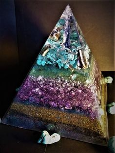 Anti Stress ~OM ~ Kyanite & Abalone Shell with Ormus ~ Relaxing DOR Energy Pyramid Device ~ by OrgoneJewelsUK on Etsy