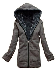 JSUN7 Womens Long Winter PolarFleece Thickened Coats JacketsDark GreyL *** Want to know more, click on the image. Note:It is Affiliate Link to Amazon.