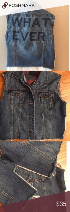 Distressed embroidered cropped denim jacket Preowned, very good condition Jackets & Coats Jean Jackets