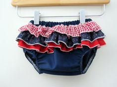 Stars  - Wrap around ruffle diaper covers - Red - White - Blue cute baby bottoms for 4th of july