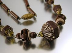 Vintage Art Deco Brown Glass and Celluloid by worn2perfection, $89.00