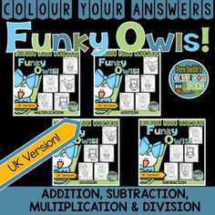 This Colour Your Answers Funky Owl Bundle For Addition, Subtraction, Multiplication and Division includes practice for Addition, Subtraction, Multiplication and Division Facts. #FernSmithsClassroomIdeas