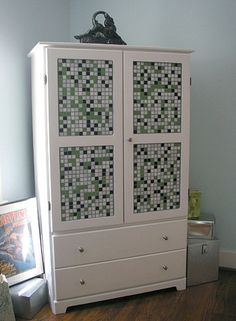 Curbly writer erinloechner shows you how to make a custom mosaic armoire from an old TV cabinet. Mosaic Diy, Mosaic Glass, Mosaic Tiles, Stained Glass, Mosaic Furniture, Funky Furniture, Painted Furniture, Bedroom Furniture, Unwanted Furniture