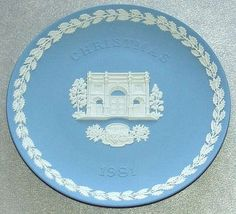 "vintage Wedgwood Pale Blue Jasper Ware 1981 Christmas 8 1/4"" diameter Plate with white bas relief of Marble Arch, London"