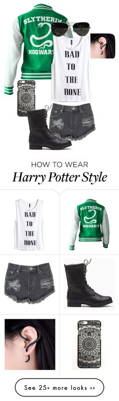 """""""Slytherin Chick"""" by weshallriseforevermore on Polyvore featuring Glamorous, H&M and Ray-Ban"""