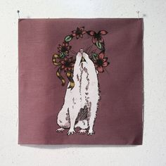 printed canvas patch  Rat King 7 x 7 by shopfeverfew on Etsy, $5.00