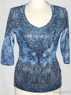 Size PL DRESSBARN Embellished Front TATTOO SUBLIMATION Blue Beaded TOP V-Neck #Dressbarn #KnitTop #Casual