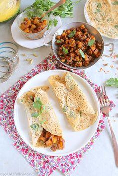 Rava dosa (crêpes indiennes salées) garnies de patate douce et lentilles corail masala, et chutney de mangue aux épices (sans gluten, vegan) • Cook A Life! by Maeva