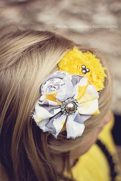 Maggie ruffle and rosette headband in grey by babybirdieboutique