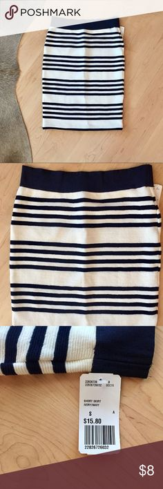 Striped Pencil Skirt Striped Pencil Skirt. Navy and white. New with tags. Super stretchy and comfortable. Forever 21 Skirts Pencil