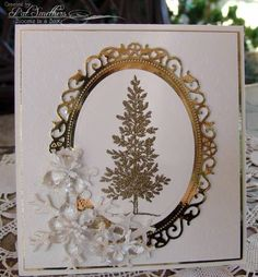 SU Lovely as a Tree, Spellbinders Floral? ovals, White and Gold Embossed