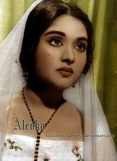 Beautiful vintage Bollywood actress Meena Kumari. Originally black and white photo coloured by me.