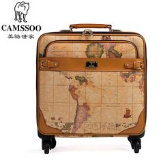 (128.34$)  Watch now - http://aii18.worlditems.win/all/product.php?id=32443049889 - New fashion!Female/male vintage world map travel luggage bags sets,16 20 22 24inches retro trolley luggage on universal wheel