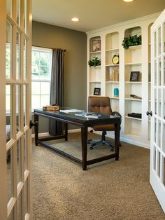 Traditional Home Office with Pier 1 blythe curtain - brown, Liberty Furniture Kingston Plantation Writing Desk, Carpet