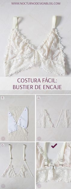 Easy sewing: Lace bustier Full step by step - Under Wear Sewing Clothes Women, Diy Clothing, Clothes For Women, Yoga Clothing, Fashion Sewing, Diy Fashion, Ideias Fashion, Fashion Clothes, Fashion Heels