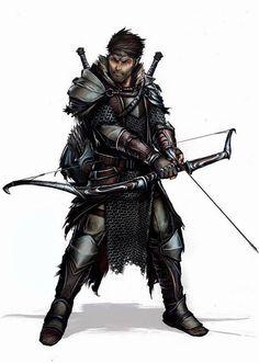 m Ranger Med Armor Longbow Swords