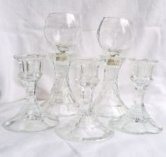 Lot of 5 LEAD CRYSTAL CANDLESTICKS and 2 CLEAR CANDLE CUPS ~Wedding Party Holder $15.00 BIN $10.29 sh