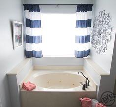 idea for curtains on our bathroom window above the tub like it a lot bathroom pinterest bathroom windows tubs and window
