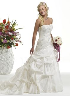 Brautkleider - $193.00 - A-Linie/Princess-Linie Trägerlos Kathedrale Schleppe Taft Brautkleid mit Rüschen Spitze Perlen verziert (00205002035)