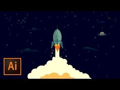 Rocket Ship Outer Space Illustration - Illustrator Tutorial - YouTube