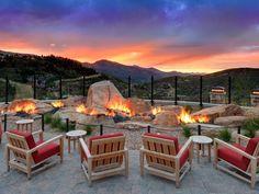 Wandering strip fire pit has an almost volcanic look :: St. Regis Deer Valley resort, Park City, Utah