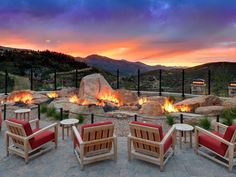 Guests of the St. Regis Deer Valley in Park City enjoy evening champagne next to the luxurious resort's unique rock formation fire pit, one of the most spectacular we've seen.