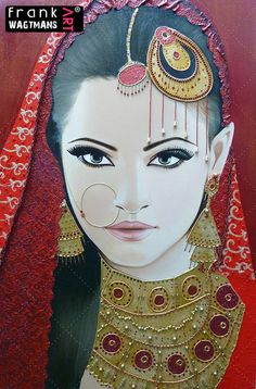 Amazing, large painting 'Indian Beauty'. Exclusive portrait of an Indian Bride. 100% Hand-made artwork! Asian Bridal Portrait Painting by Frank Wagtmans.