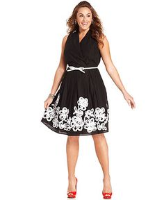 SL Fashions Plus Size Dress, Sleeveless Belted Faux-Wrap - Plus Size Dresses - Plus Sizes - Macy's
