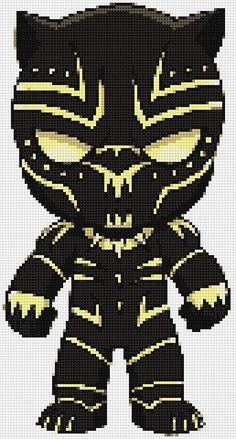 Black Panther (Killmonger) Ultimate Chibi cross stitch and plastic canvas