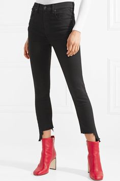 rag   bone - The Capri distressed high-rise skinny jeans. Cute PantsSkinny  JeansButtonsStretch DenimRag ... afff6195457f