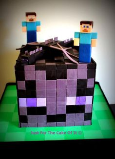 Minecraft Enderman & Ender Dragon - Cake by Nicole - Just For The Cake Of It