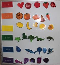 Colour sorting printable. She's done it with magnets but I think I'll glue onto felt backing and use felt squares as the sorting trays