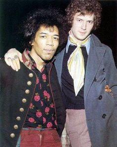 Jimi Hendrix & Eric Clapton, two guitar wizards (1967).