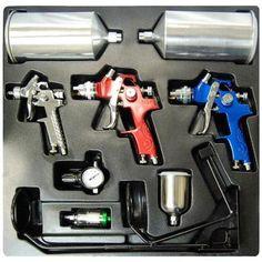 10 pc Set 3 HVLP SPRAY GUN KIT Auto Paint Primer Topcoat Detail Regulator Filter
