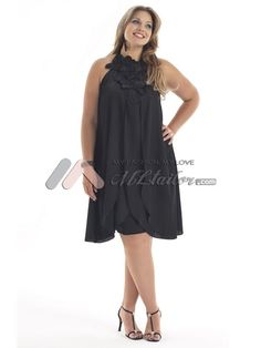 A-line Halter Knee Length Satin Chiffon Plus Size Cocktail Dress (MLSW20648)