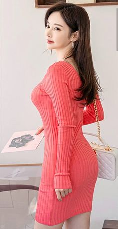 Korean Fashionista, Good Looking Women, Korean Women, Sons, How To Look Better, Bodycon Dress, Dresses With Sleeves, Long Sleeve, Pretty