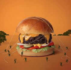 Fat & Furious Burger. The French designer duo Thomas & Quentin founded Fat & Furious Burger, starring their favorite food in various situations.