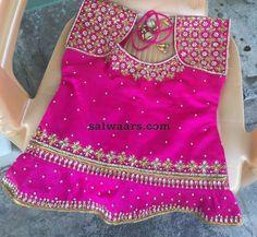 Blue and Pink Kundan Lehenga - Indian Dresses Kids Blouse Designs, Hand Work Blouse Design, Bridal Blouse Designs, Kids Lehanga Design, Kids Frocks Design, Kids Dress Wear, Dresses Kids Girl, Kids Lehenga, Baby Lehenga