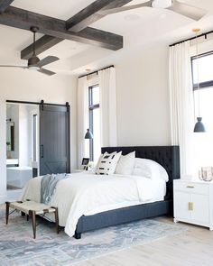 Coffered ceiling master bedroom | Wood beams master bedroom | Extra high ceilings master bedroom