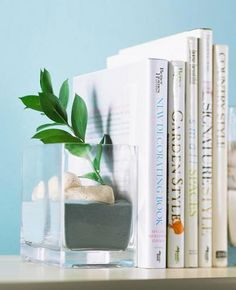 Make your own book ends with glass container and decorative sand/stones.  Plus many other great decorating tips.